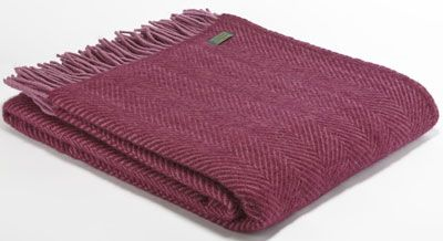 Tweedmill Lifestyle Herringbone Throw Berry in Pure New Wool A beautiful high quality throw ideal for the bottom of a bed a throw for a chair or sofa