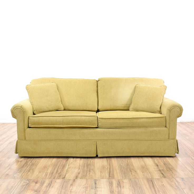 """This """"Krause's"""" sofa is upholstered in a taupe microfiber fabric. This traditional style loveseat has plush cushions with piping, a skirted base, and matching throw pillows. Comfortable couch that's perfect for napping or lounging! #americantraditional #sofas #futon #sandiegovintage #vintagefurniture"""