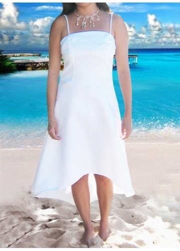 Cute Beach Wedding Dress - Spaghetti Straps Satin A-Line Asymmetrical Knee-length Wedding Dress - View more here ---> http://www.weddingbuddy.net/category/wedding-dresses/beach-wedding-dresses/