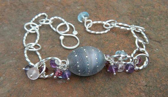 Karma II Bracelet  // Etched Glass Jewelry // by CloverBlueToo