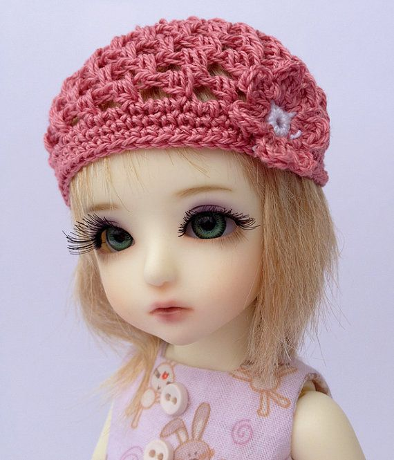 BJD Beanie Hat with Flower for 6/7 head by AdrianneInspired