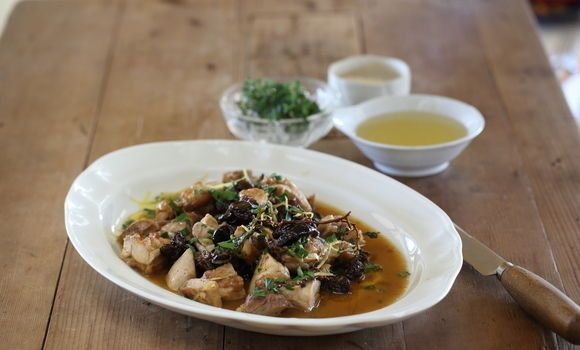 Maggie Beer's Chicken Thighs with Raisins and Pear Cider