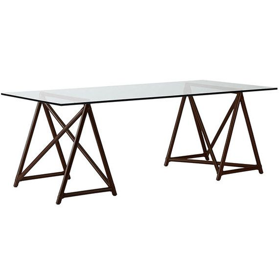Hawkins Sawhorse Table With 38 X80 Glass Top JST25 Contemporary