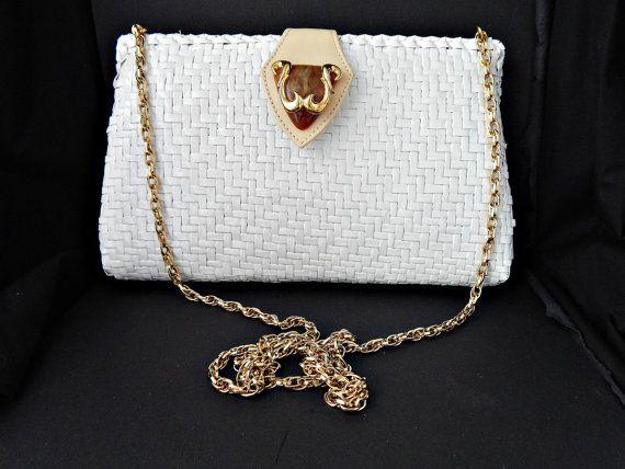 Rodo Wicker Purse Lacquered Italian Handbag Ornate Clasp White