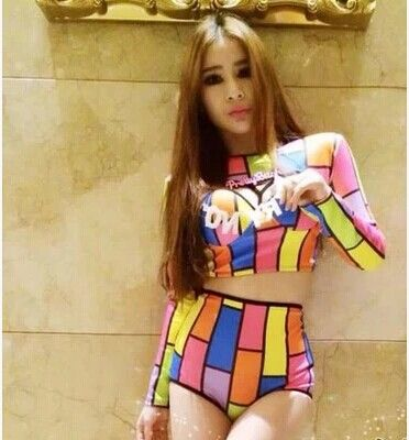 Female singer dj twirled clothing costumes ds costume fashion neon colorant match set