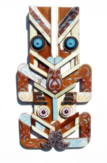 'Hey Tiki-rua' - Handpainted up-cycled demolition timber and found objects by Tony Harrington