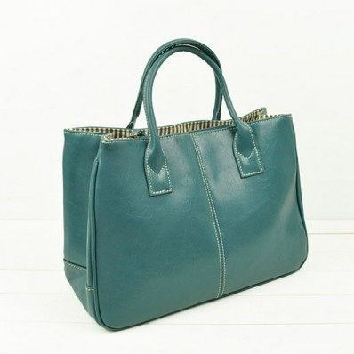 Blue Faux Leather Pure Color Stylish Bag