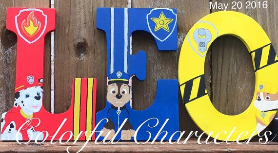 Paw Patrol Painted Wall Letter, Room decor, Wall decor, made to order, birthday decoration, Children's room decor, custome letters