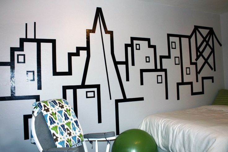 92 best masking tape murals images on pinterest optical illusions graphics and adhesive. Black Bedroom Furniture Sets. Home Design Ideas