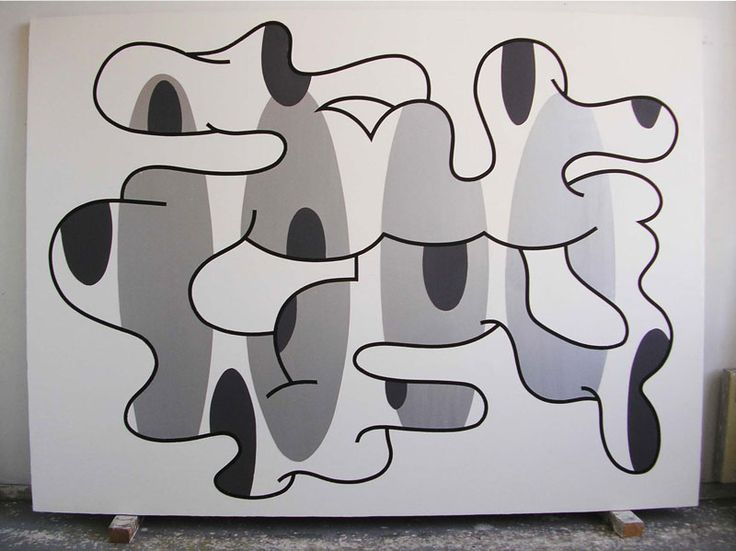 Olivier Gourvil, Les Teckels, 2005, oil and acrylic on canvas, 188 x 252 cm