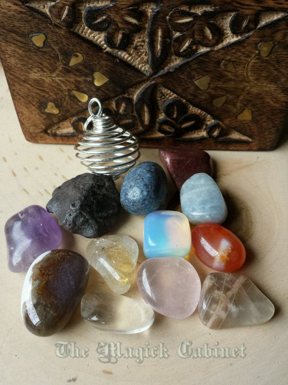 12 Stone Energy Kit with Rock Cage Charm, Stone Energy Set, Healing Crystals & Stones, Natural Stones, Jewelry, Intuitively chosen stones #Metaphysical