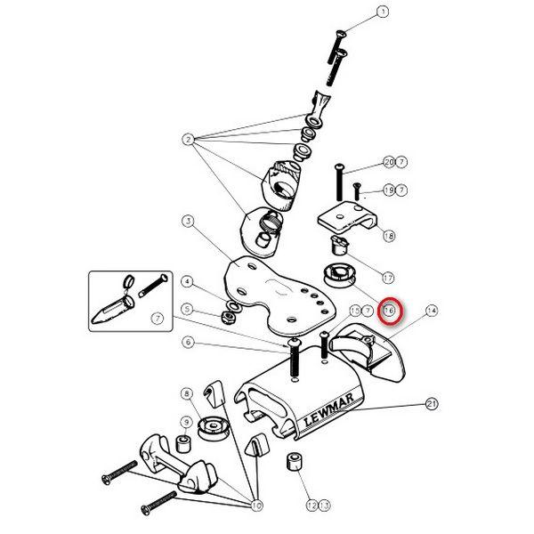 Шкив для каретки Lewmar 25000009 размер 1  - Артикул: 9512403880;  - Производитель: Lewmar;  - Страна произв-ва: Великобритания