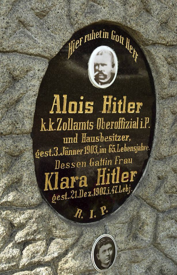 The headstone of Alois and Klara Hitler's grave. The tombstone marking the grave of Adolf Hitler's parents has been removed