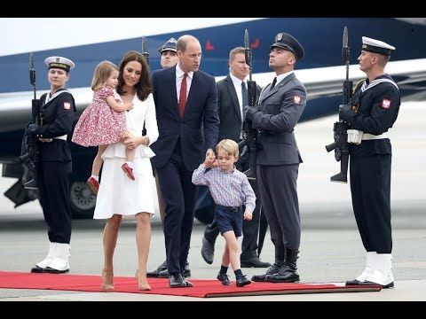 William, Catherine, George & Charlotte arrive in Poland