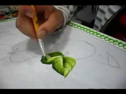 Pintura em tecido - vídeo aula de folhas