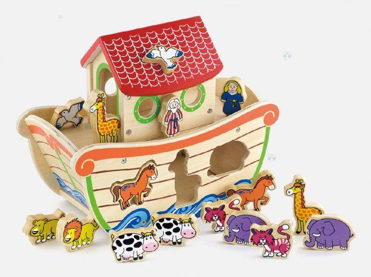 """Sorter edukacyjny """"Arka Noego"""" służy jako biblijna łódź, która daje schronienie i ratunek dla różnych gatunków zwierząt oraz sorter kształtów.  Sorter edukacyjny sprawdza się jako pomoc w rozwijaniu motoryki u malucha, oraz koordynacji ręka-oko.  Dodatkowo uczy rozpoznawać kolory i kształty zwierząt.  #zabawki #drewnianezabawki #dladziecka #zabawkiedukacyjne #sklepzzabawkami #sklepdladziecka"""
