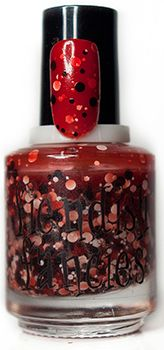 F.6-06: Ghosts Are Real Crimson red jelly pond with black and white multidimensional matte glitter shapes. Inspired by snow-stained blood, blood-stained snow, snowy red clay and the many souls inhabiting the walls of Allerdale Hall. : The Beware Collection ~ Inspired by Crimson Peak ~ 5-Free, vegan, cruelty-free Nail Lacquer hand-poured in Canada