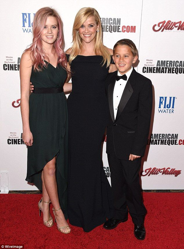 Modern family: Ava, left, and Deacon, right, are Reese's children from her prevoius marriage to Ryan Phillippe; the trio were pictured in October of last year