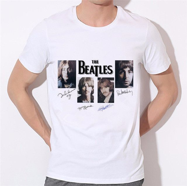 The Beatles neck t-shirt Summer Style t shirts famous band rock and roll