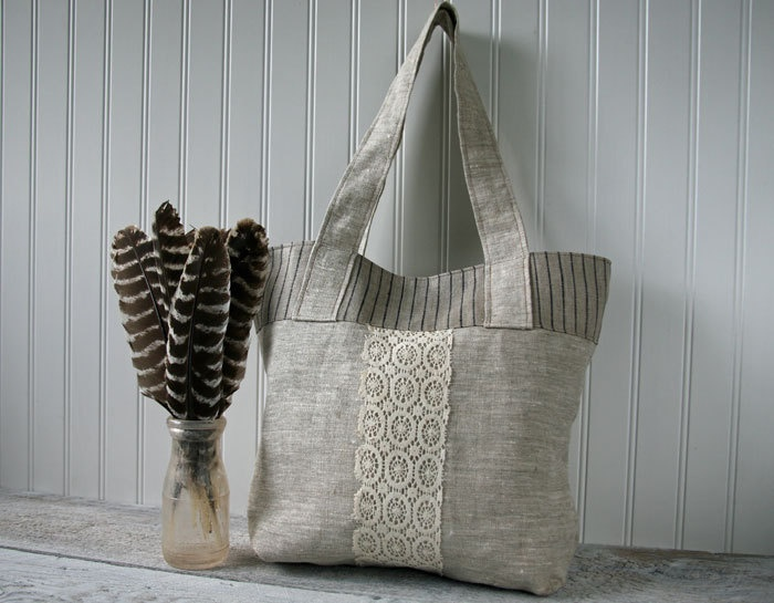 Beige Linen Tote Bag, Market Bag, Lace, Stripes, Handbag, Hobo Bag, Everyday Bag, Fustian Tweed. $58.00, via Etsy.