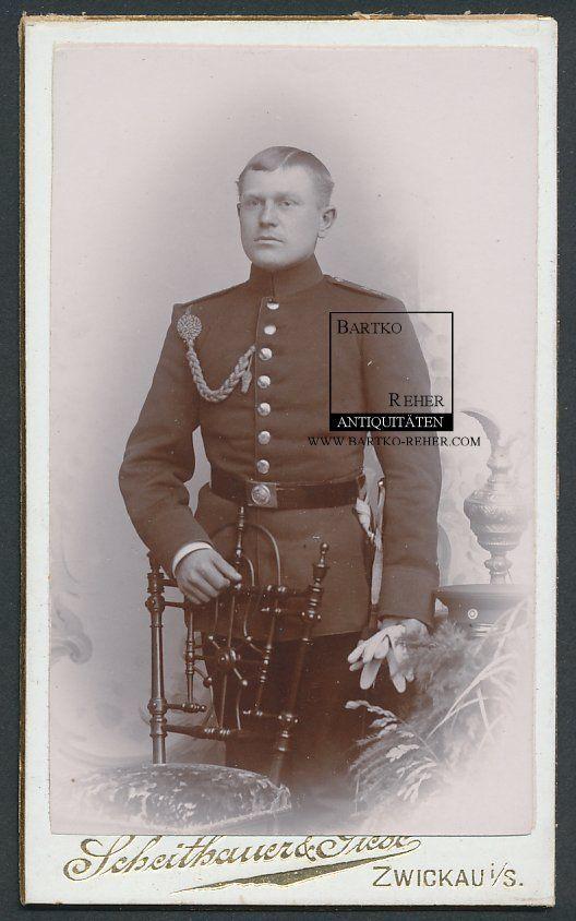 CDV Foto ca. 1910 Zwickau i/S. Artillerie Soldat in Uniform mit Schützenschnur   eBay