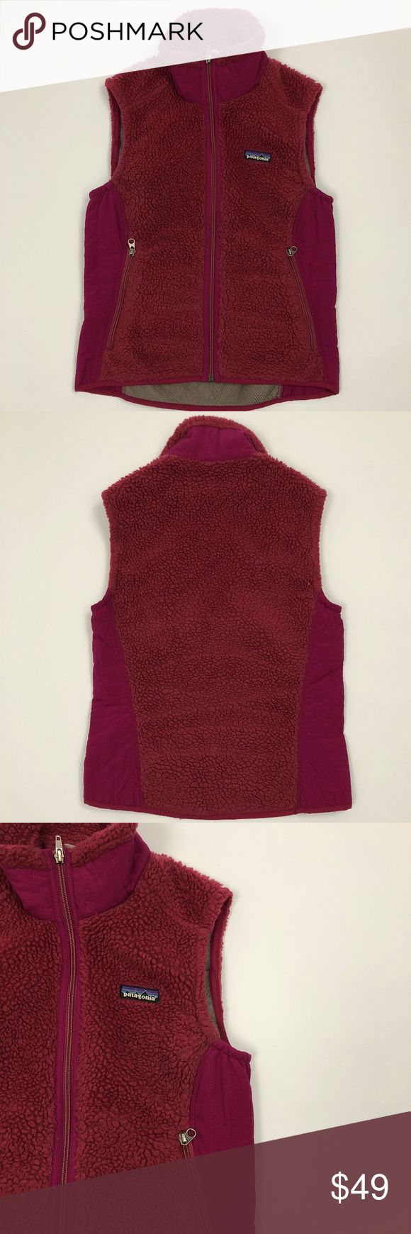 "Patagonia Retro X Fleece Vest Maroon Pink Sz S Patagonia Retro X fleece vest in maroon pink.  In good condition but does have signs of wear.  Approximate measurements: Chest 16"" Length 23"" Sleeve 23"" RTS #7030 Thank you! Patagonia Jackets & Coats Vests"