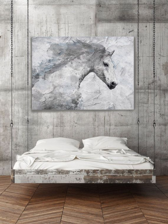 Extra Large Horse, Unique Horse Wall Decor, White Grey Rustic Horse, Large  Canvas Art Print Up To By Irena Orlov