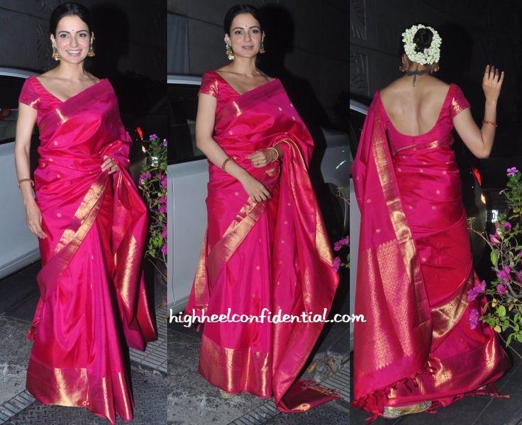 "Look who's captured us on ""High Heel Confidential"" for our Kanchipuram silks.... @ http://www.highheelconfidential.com/kangana-ranaut-at-agga…/ #kanchipuram #puresilk #realzari #kangana #weddingwear"