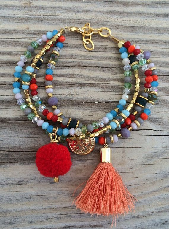 OOAK armcandy SET: 4 beaded bracelets in beautiful colors with tassel, coin charm and pompom