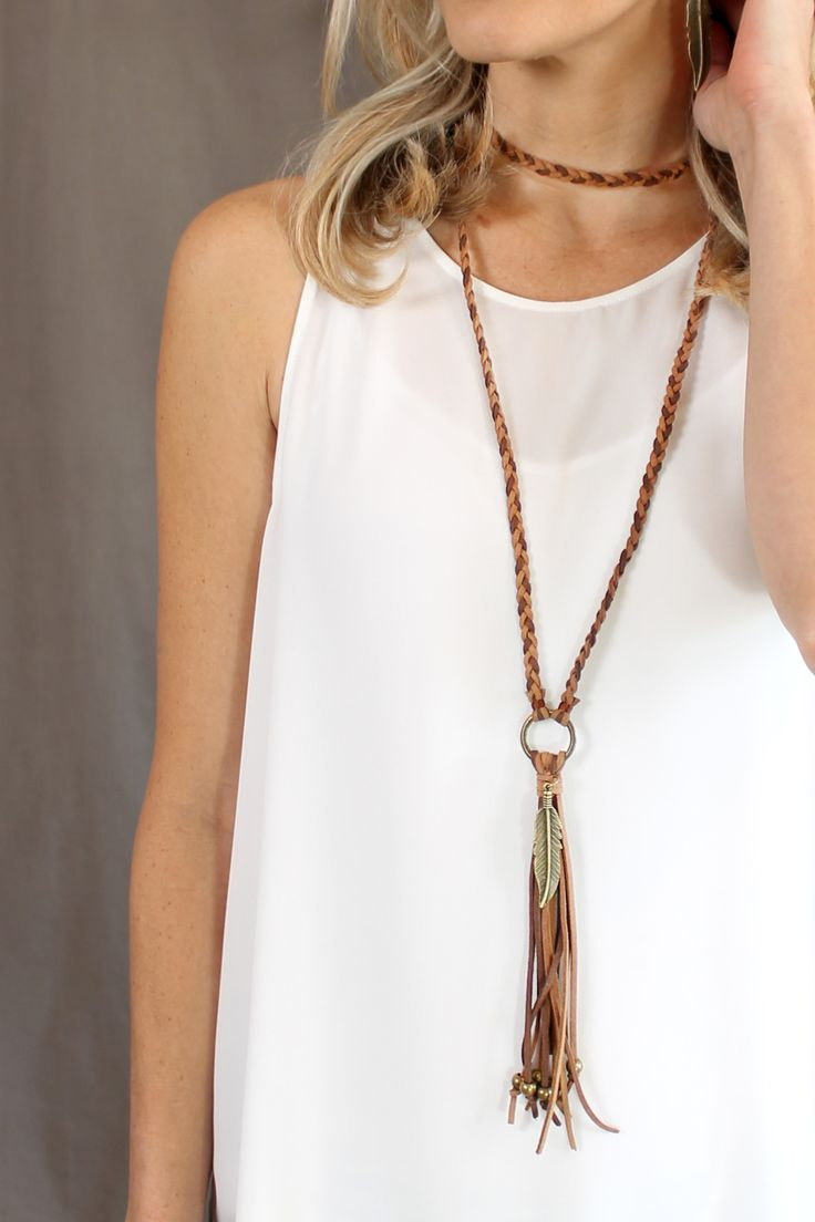 Two-Tone Brown Braided Leather & Tassel Necklace - Seasons Jewelry - Retail