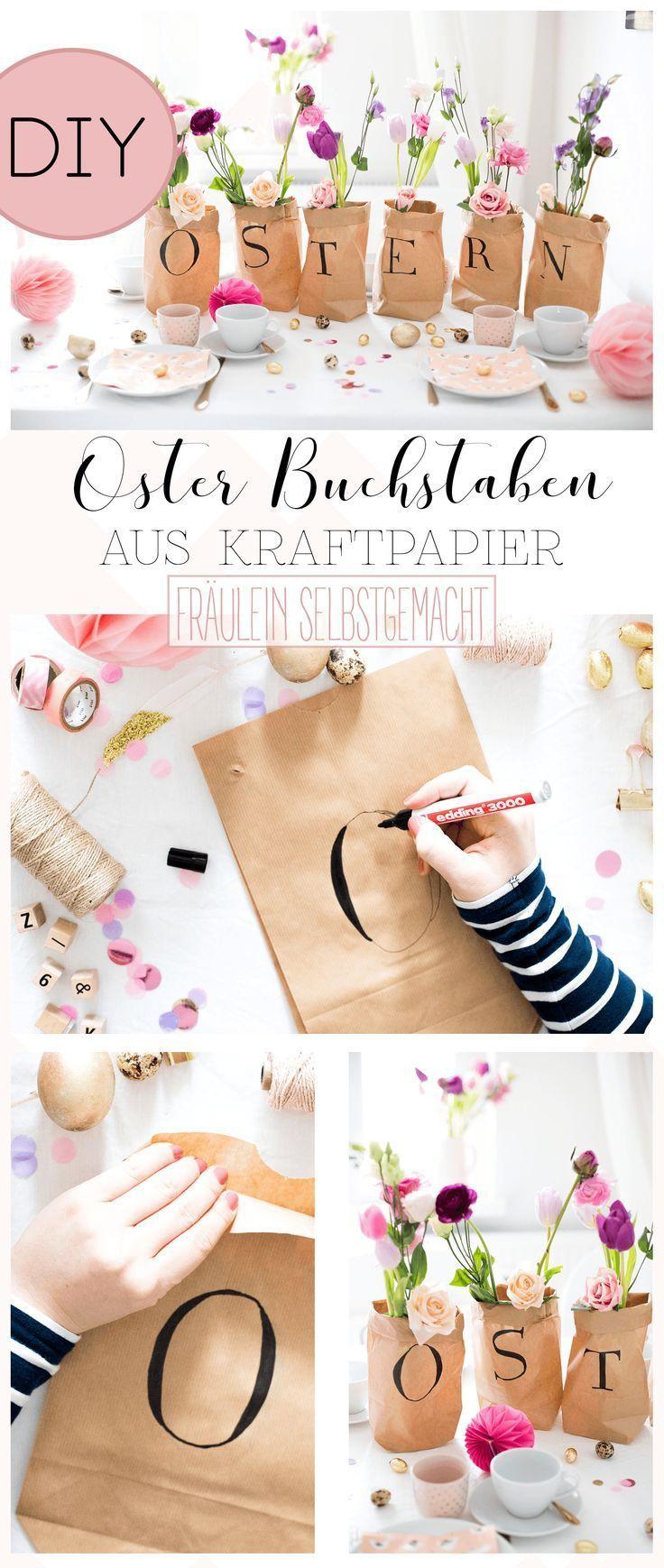Geschenke schön verpacken: Oster-Buchstaben aus Kraftpapier // Geschenke verpac…