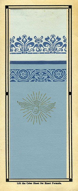Historic color scheme from 1919 for an Arts and Crafts home. (blue and gold..she knows blue and gold. She wonders why she's buying a Great Gatsby house when she's really a Marie Antoinette kind of girl)