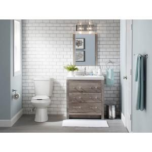 Glacier Bay Woodbrook 30.5 in. W Vanity in White Washed Oak with Cultured Marble Vanity Top in White with White Basin and Mirror WB30P3-WO at The Home Depot - Mobile