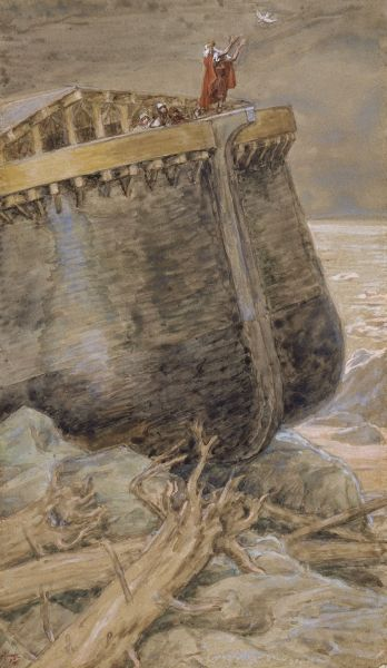 The Dove Returns to Noah James Tissot. I like how the ark is on an angle in the rocks. Maybe everything was swaying to one side, who knows
