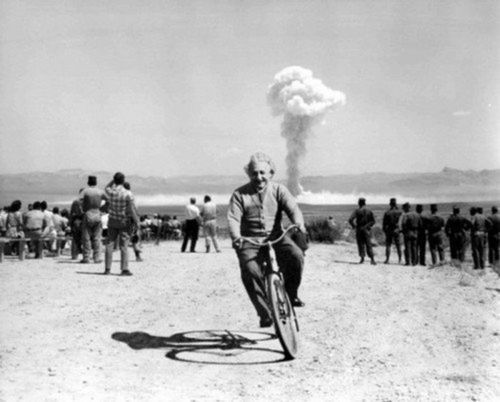 Albert Einstein riding a bicycle down range from a nuclear bomb test. At the beginning of WWII, Einstein encouraged Roosevelt to begin research on a new, powerful weapon to support the Allied forces, but largely denounced the idea of using the newly discovered nuclear fission as a weapon. Later, with the British philosopher Bertrand Russell, Einstein signed the Russell–Einstein Manifesto, which highlighted the danger of nuclear weapons and denounced their use.