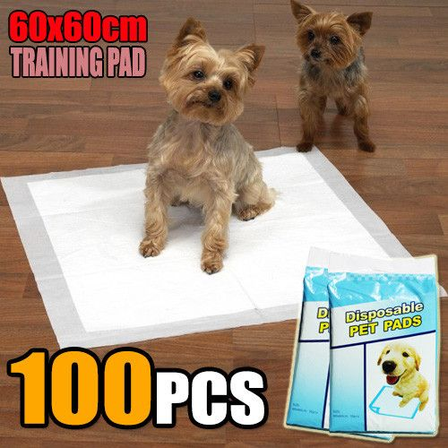 100 PCS Puppy Pet Dog Cat Training Pads 60x60cm Super Absorbent Wee Loo Toilet Kit - Ultra Saver