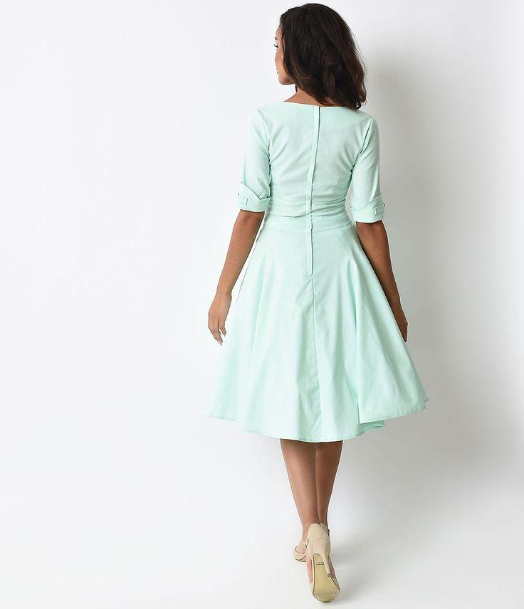 1950 Vintage único vestido del oscilación del estilo de Delores Menta Manga | único de la vendimia                                                                                                                                                      Más
