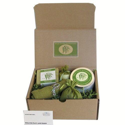 Organic Gift Basket Spa Set Eucalyptu Scented Bath Body Products Kit Healing