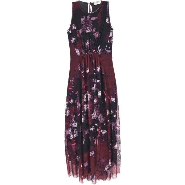 Fuzzi Long Dress (4,755 EGP) ❤ liked on Polyvore featuring dresses, maroon, long dresses, sleeveless long dress, maroon dress, long purple dress and sleeveless dress