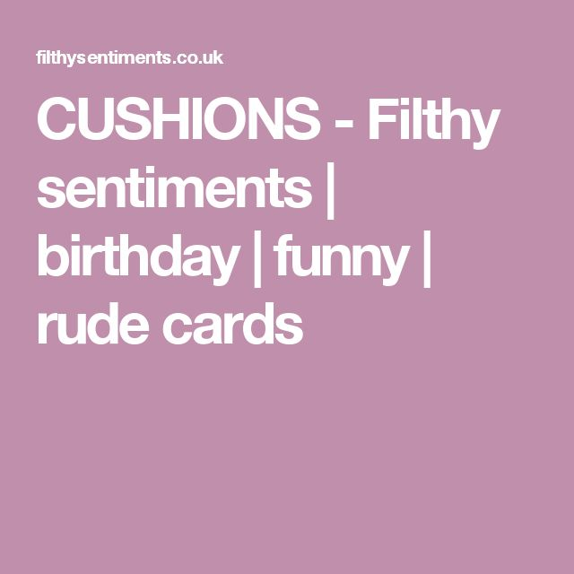 CUSHIONS - Filthy sentiments | birthday | funny | rude cards