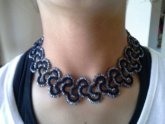Hand tatted beaded necklace -classic black with silver glass beads