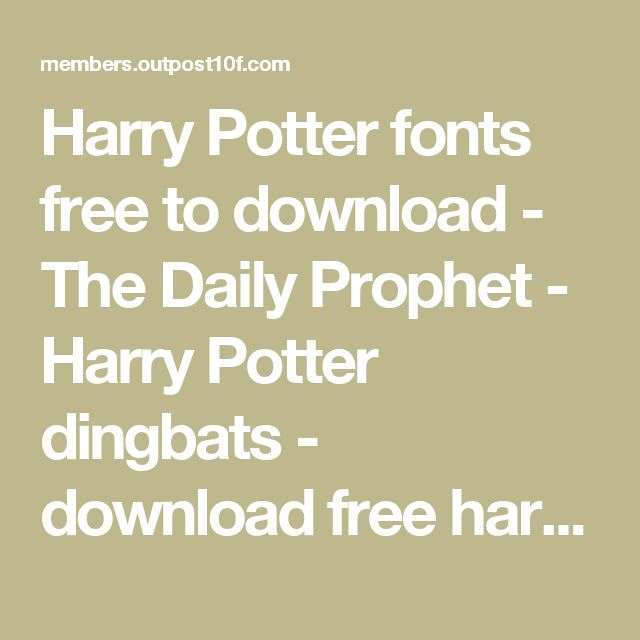 Harry Potter fonts free to download - The Daily Prophet - Harry Potter dingbats - download free harry potter font