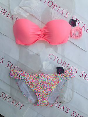 New Sexy Victoria's Secret Madi Push Up Bandeau Bikini Set Confetti Sugar Coral