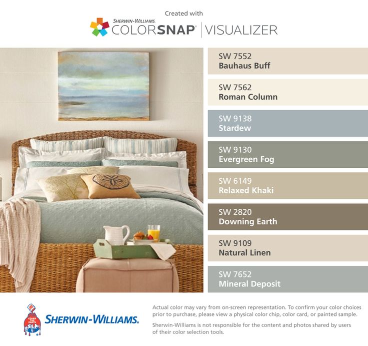 I found these colors with ColorSnap® Visualizer for iPhone by Sherwin-Williams: Bauhaus Buff (SW 7552), Roman Column (SW 7562), Stardew (SW 9138), Evergreen Fog (SW 9130), Relaxed Khaki (SW 6149), Downing Earth (SW 2820), Natural Linen (SW 9109), Mineral Deposit (SW 7652).
