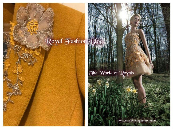 Outfit Anita:  Prinses Anita gaat gekleed in een geborduurde japon met mouwen van Oso Couture. Daarop draagt ze een okergele mantel en bijpassende sjaal