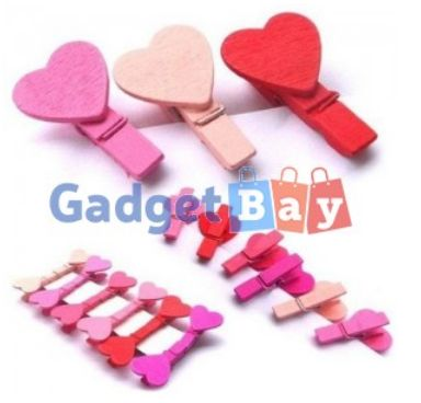 12Pcs Heart Love Wooden Clothes Photo Paper Peg Pin Clothespin Craft Clips  Buy it on www.gadget-bay.com Free Shipping Europe wide