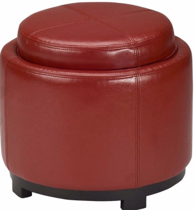 Details about Red Leather Round Ottoman With Storage Compartment Accent  Home Office Decor - 25+ Best Ideas About Leather Ottoman With Storage On Pinterest