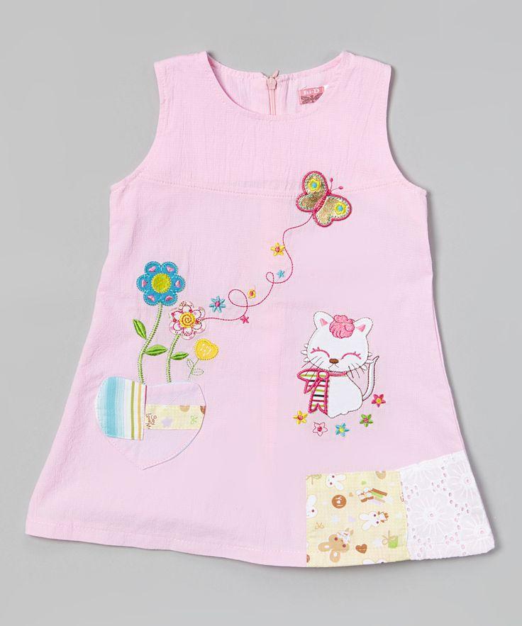 Hi-D Pembe Kedi ve Çiçek Elbise - Bebek ve Küçük Çocuk | zulily