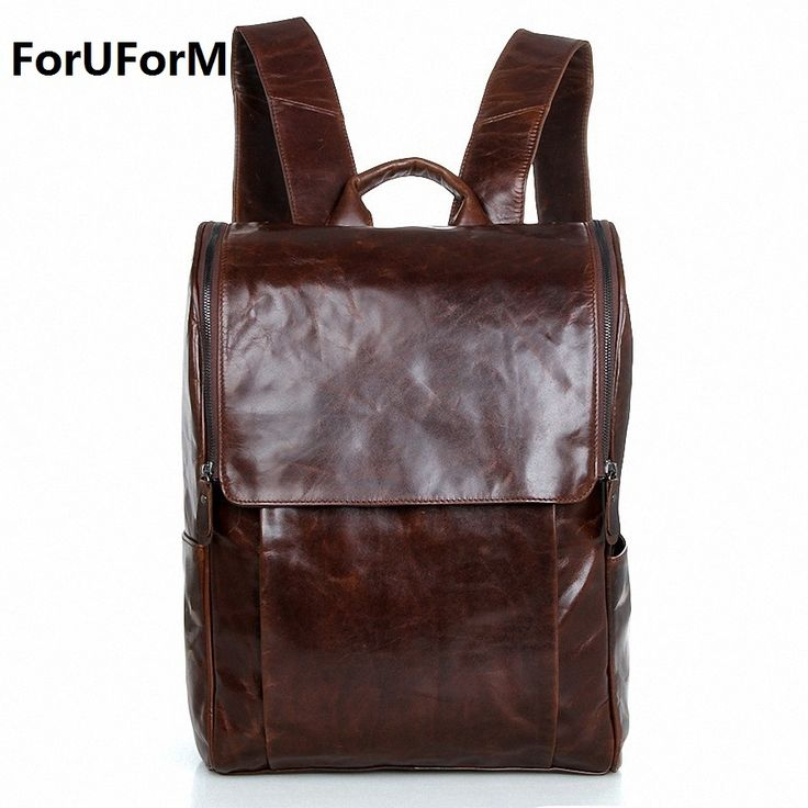 93.46$  Watch now - http://alin04.shopchina.info/1/go.php?t=32703421319 - Men genuine Leather Backpacks Men's Fashion 15.6 inch Backpack & Travel Bags Western College Style Bags Mochila Feminina LI-1368 93.46$ #magazine