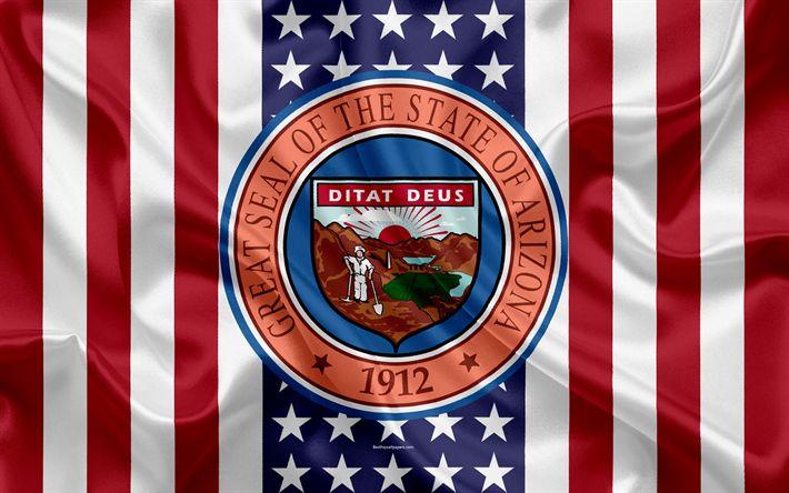 Download wallpapers Arizona, USA, 4k, American state, Seal of Arizona, silk texture, US states, emblem, American flag
